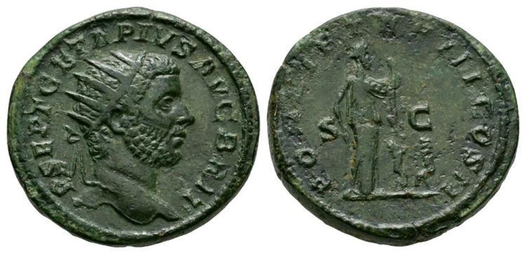 Ancient Roman Imperial Coins - Geta - Pietas Dupondius