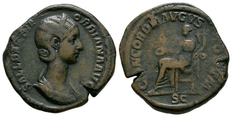 Ancient Roman Imperial Coins - Orbiana - Concordia Sestertius