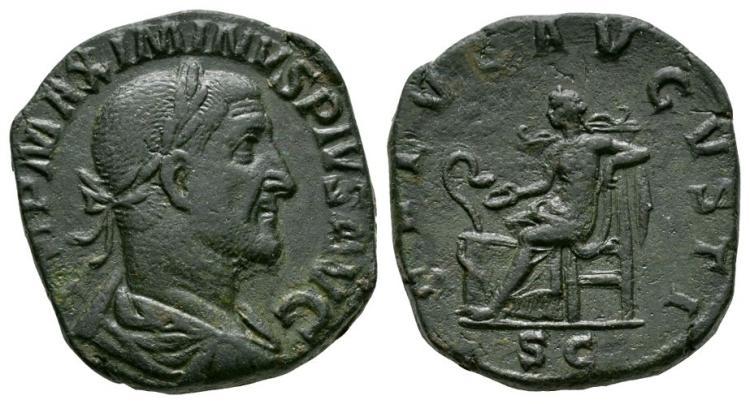 Ancient Roman Imperial Coins - Maximinus I - Salus Sestertius