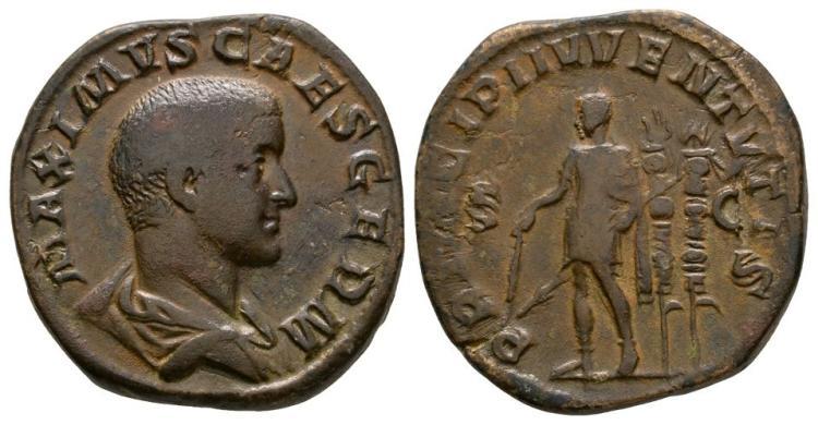 Ancient Roman Imperial Coins - Maximus - Emperor Standing Sestertius