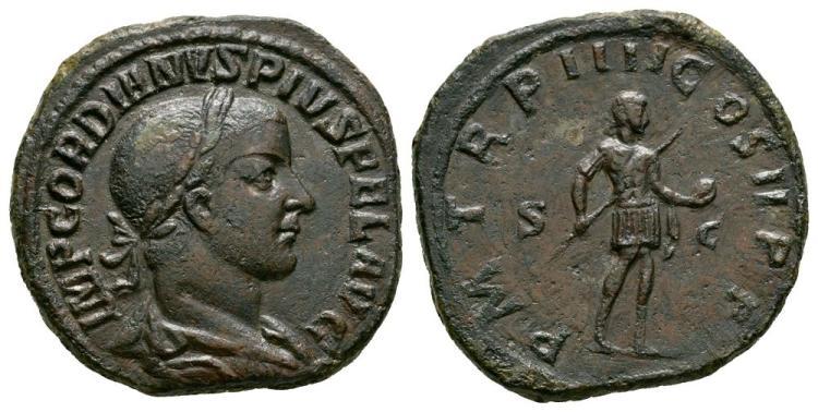 Ancient Roman Imperial Coins - Gordian III - Emperor Standing Sestertius