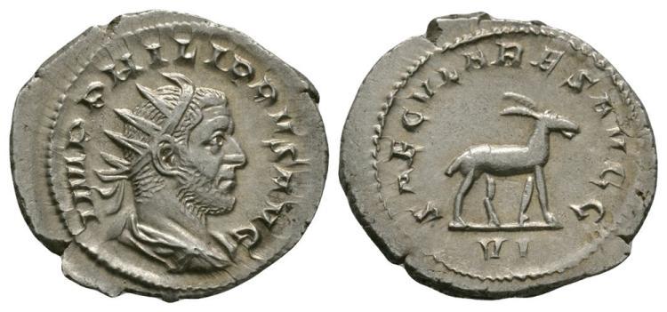 Ancient Roman Imperial Coins - Philip I - Antelope Antoninianus