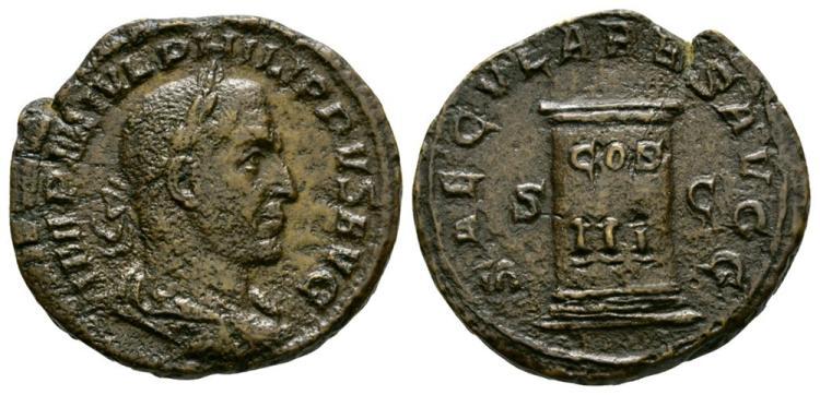 Ancient Roman Imperial Coins - Philip I - Cippus Sestertius