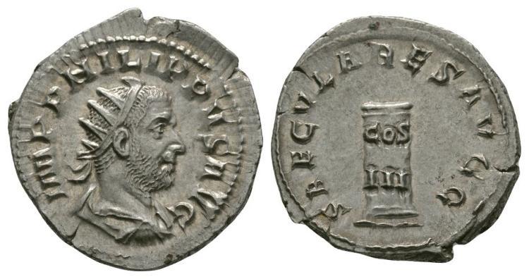 Ancient Roman Imperial Coins - Philip I - Cippus Antoninianus