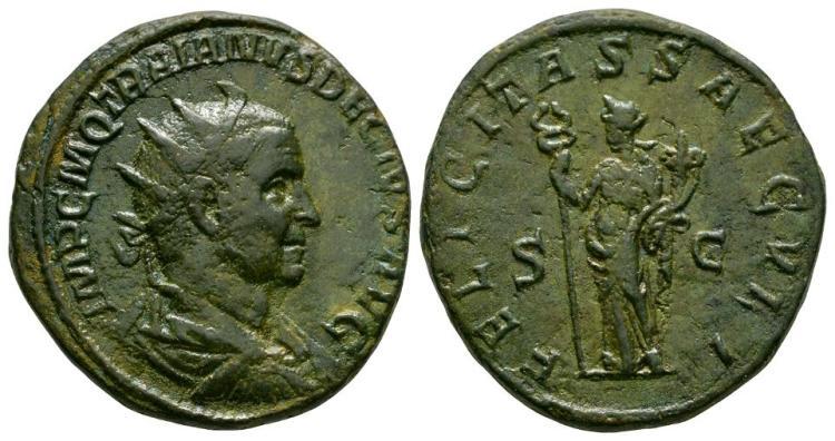 Ancient Roman Imperial Coins - Trajan Decius - Felicitas Double Sestertius