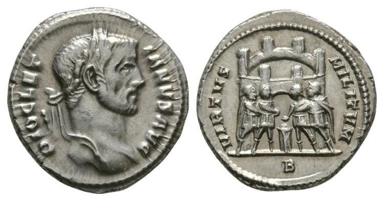 Ancient Roman Imperial Coins - Diocletian - Four Tetrarchs Argenteus