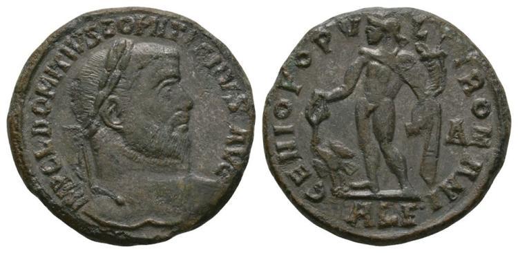 Ancient Roman Imperial Coins - Domitius Domitianus - Genius Follis