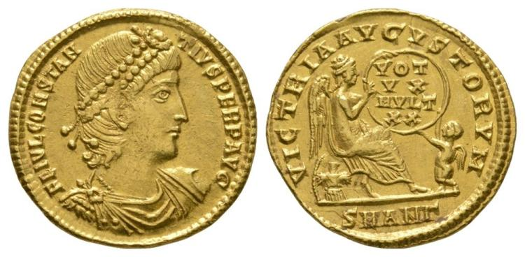 Ancient Roman Imperial Coins - Constantius II - Gold Victory Solidus