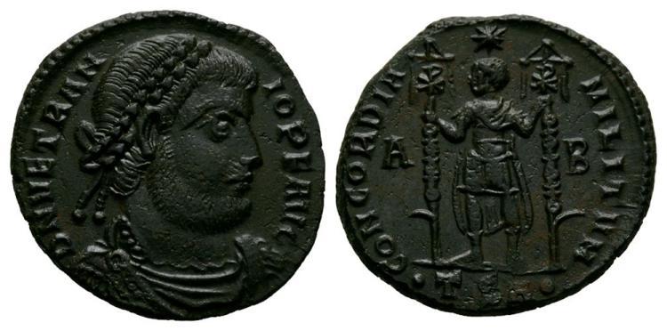 Ancient Roman Imperial Coins - Vetranio - Emperor Standing Follis