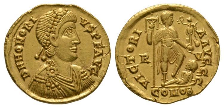 Ancient Roman Imperial Coins - Honorius - Emperor Standing Gold Solidus