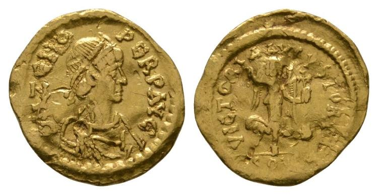 Ancient Roman Imperial Coins - Zeno - Gold Victory Tremissis