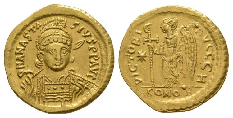 Ancient Byzantine Coins - Anastasius - Gold Victory Solidus