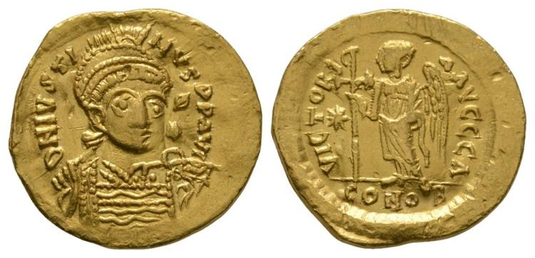 Ancient Byzantine Coins - Justinus I - Gold Solidus