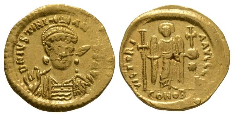 Ancient Byzantine Coins - Justinian - Gold Angel Solidus