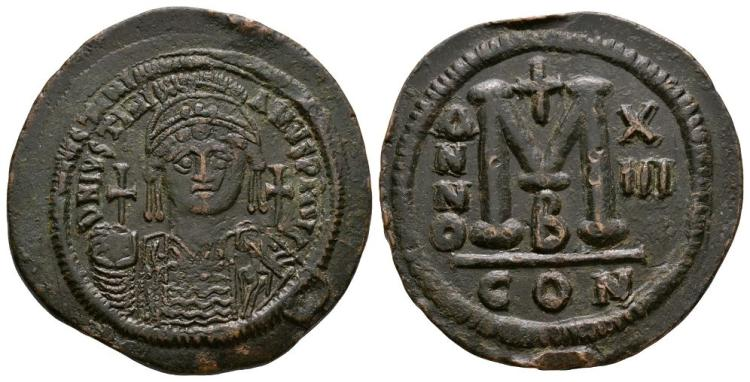 Ancient Byzantine Coins - Justinian I - Portrait Follis