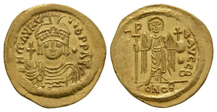 Ancient Byzantine Coins - Maurice Tiberius - Gold Angel Solidus