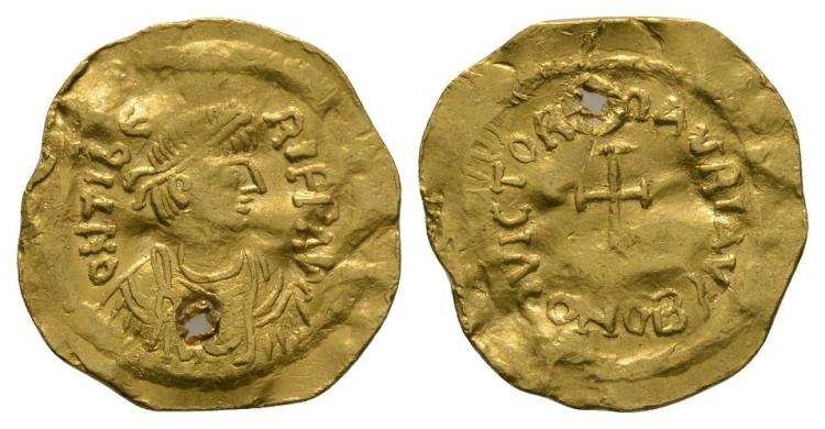Ancient Byzantine Coins - Maurice Tiberius - Gold Cross Tremissis