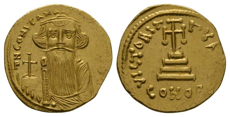 Ancient Byzantine Coins - Constans II - Cross-on-Steps Gold Solidus