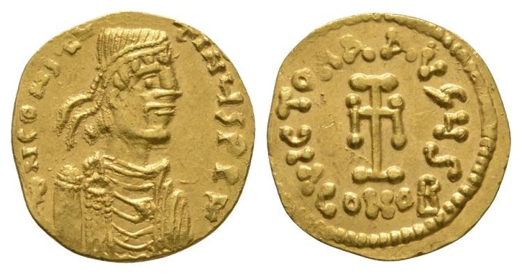 Ancient Byzantine Coins - Constantine IV - Gold Cross Tremissis