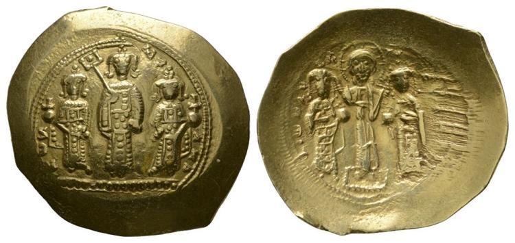 Ancient Byzantine Coins- Romanus IV - Triple Portrait Gold Histamenon