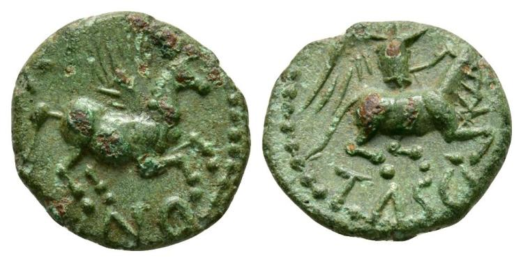 Celtic Iron Age Coins - Catuvellauni - Cunobelin - Victory Sacrificing Bull Bronze