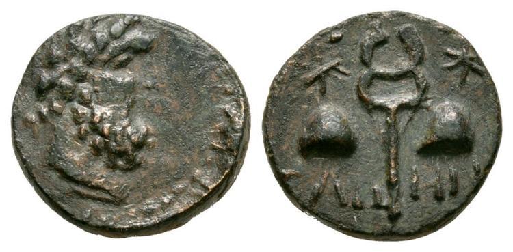 Ancient Greek Coins - Tabae - Caria - Dioskuri Caps Bronze