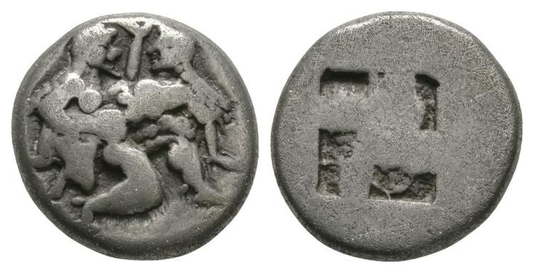 Ancient Greek Coins - Thasos - Satyr Drachm