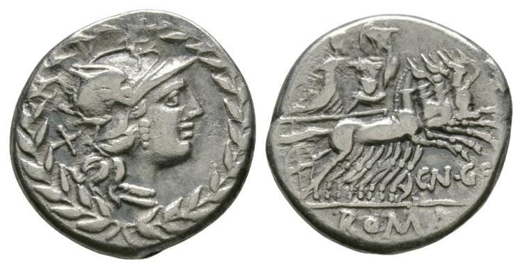 Ancient Roman Republican Coins - Cn. Gellius - Mars and Nerio in Quadriga Denarius