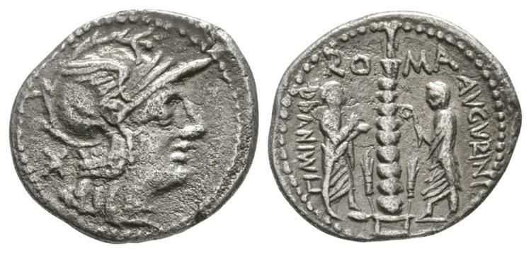 Ancient Roman Republican Coins - Ti. Minucius - Togate Figures Denarius