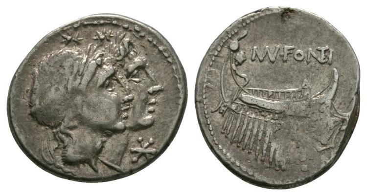 Ancient Roman Republican Coins - Mn. Fonteius - Galley Denarius