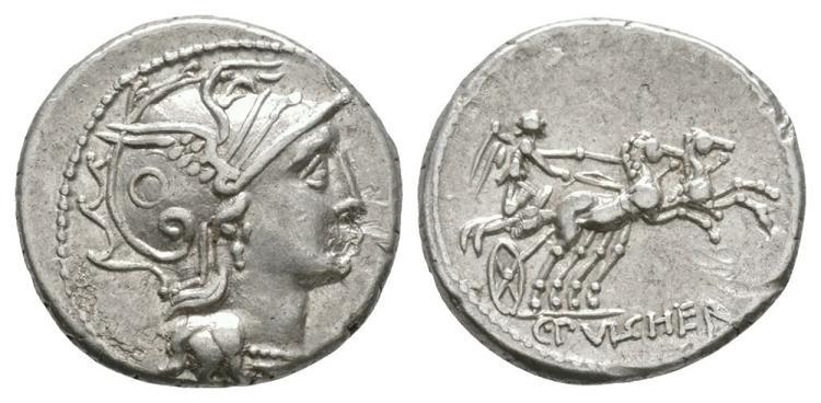 Ancient Roman Republican Coins - C. Claudius Pulcher - Victory Denarius