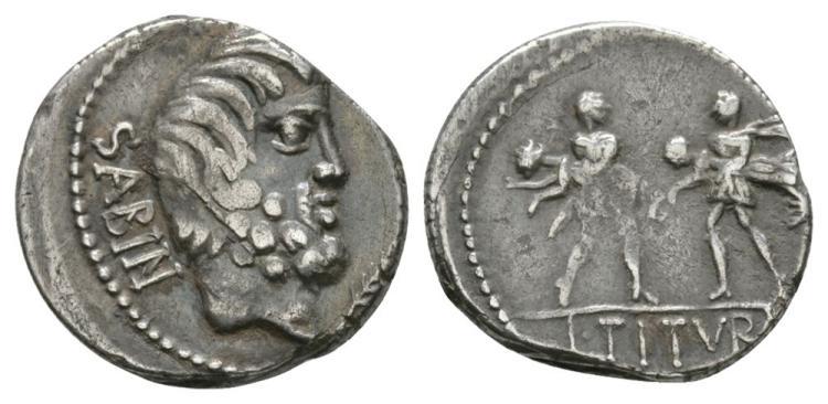 Ancient Roman Republican Coins - L. Titurius L. f. Sabinus - Sabine Women Denarius