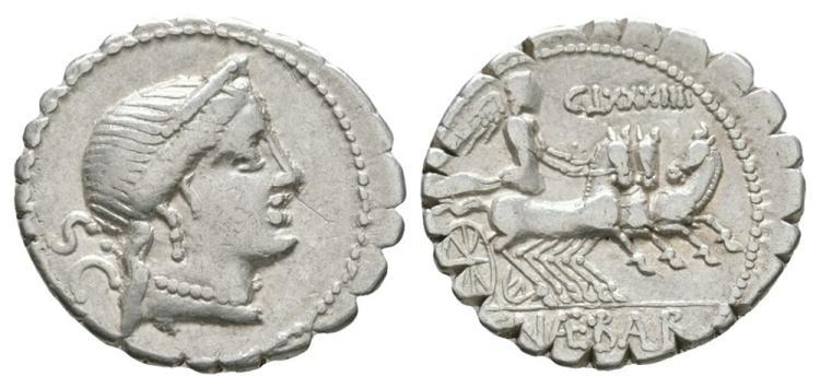Ancient Roman Republican Coins - C. Naevius Balbus - Victory in Triga Serratus Denarius