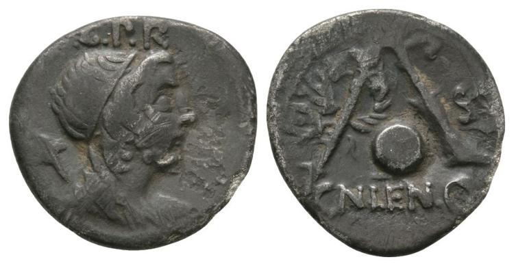 Ancient Roman Republican Coins - Cn Lentulus - Genius Denarius