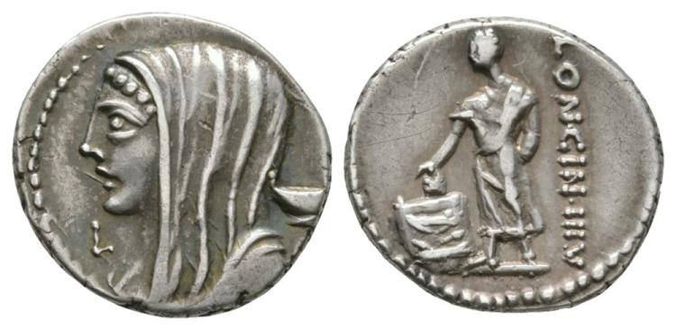 Ancient Roman Republican Coins - L. Cassius Longinus - Citizen Voting Denarius