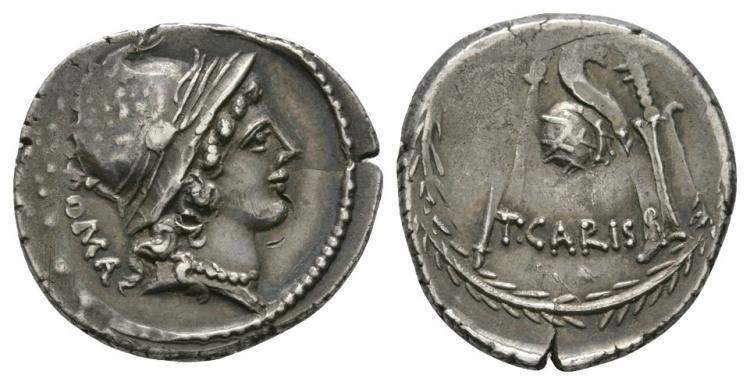 Ancient Roman Republic Coins - T Carisius - Cornucopia Denarius
