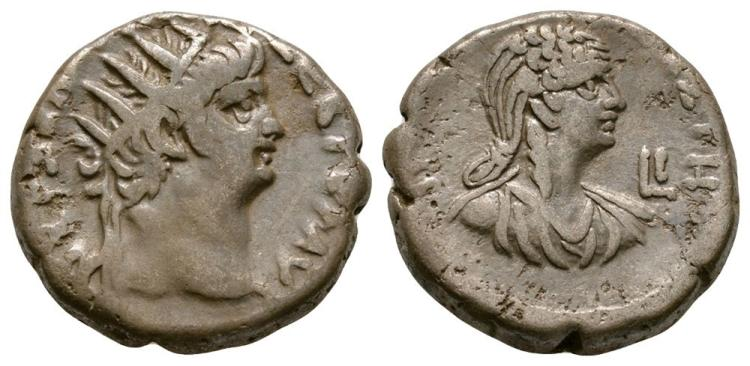 Ancient Roman Imperial Coins - Nero and Poppaea - Alexandria - Double Portrait Tetradrachm