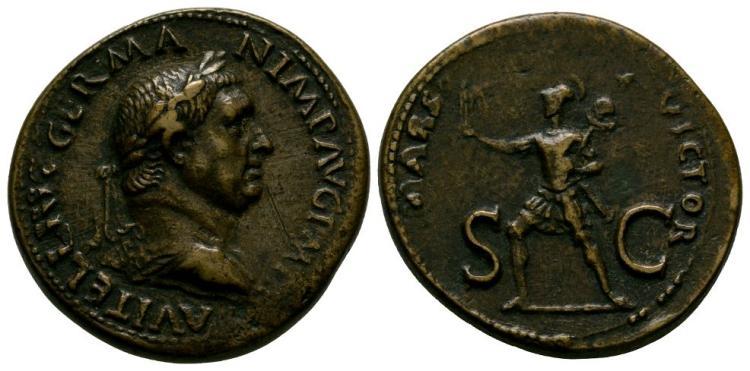 Ancient Roman Imperial Coins - Vitellius - Paduan Mars Sestertius