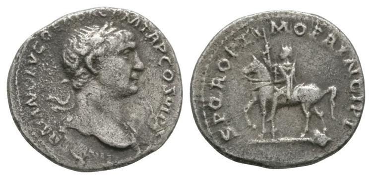 Ancient Roman Imperial Coins - Trajan - Emperor Riding Denarius