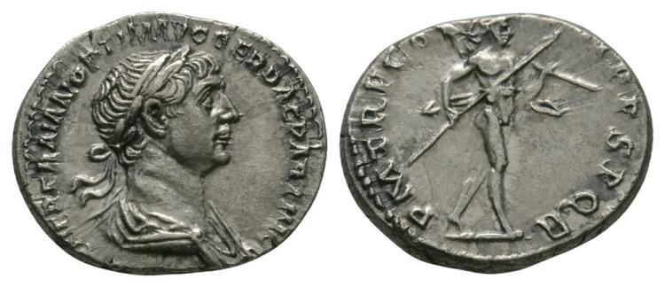Ancient Roman Imperial Coins - Trajan - Mars Denarius