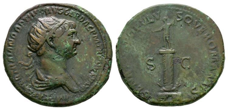 Ancient Roman Imperial Coins - Trajan - Column Dupondius