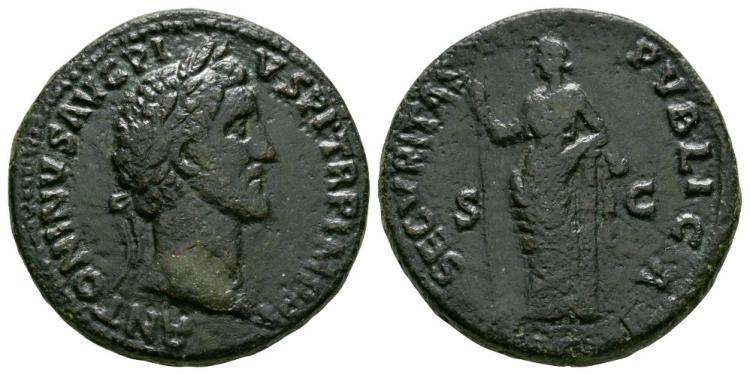 Ancient Roman Imperial Coins - Antoninus Pius - Securitas Sestertius