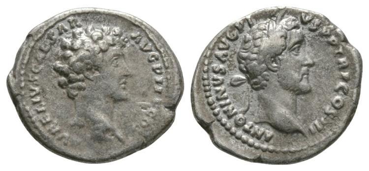 Ancient Roman Imperial Coins - Antoninus Pius and Marcus Aurelius Denarius