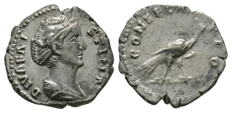 Ancient Roman Imperial Coins - Faustina I - Peacock Denarius
