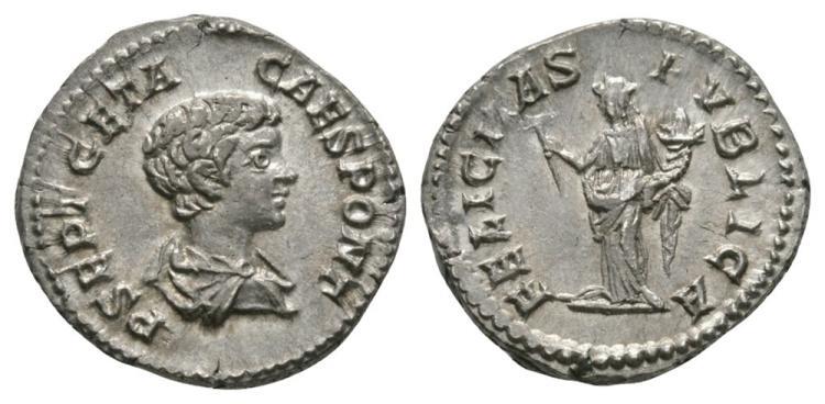 Ancient Roman Imperial Coins - Geta (as Caesar) - Felicitas Denarius