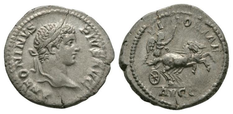 Ancient Roman Imperial Coins - Caracalla - Victory Denarius