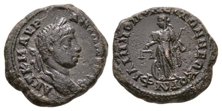 Ancient Roman Imperial Coins - Elagabalus - Philippopolis - Nemesis-Dikaiosyne Bronze