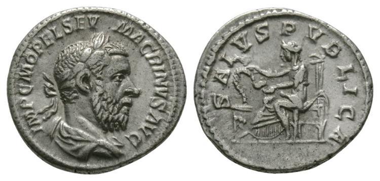 Ancient Roman Imperial Coins - Macrinus - Salus Denarius