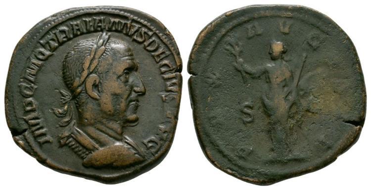 Ancient Roman Imperial Coins - Trajan Decius - Pax Sestertius