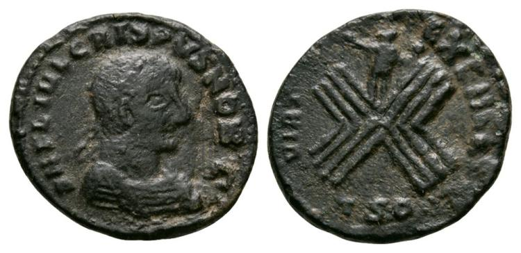 Ancient Roman Imperial Coins - Crispus - Sol and Camp Follis